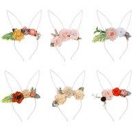 패션 꽃 아기 머리띠 귀여운 토끼 귀가 만화 어린이 여자 머리 띠 아이 머리 밴드 액세서리 파티 웨딩 선물