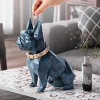 Geometria Europeia Geometria Francesa Bulldog Resina Estátua Dinheiro Caixa Creative Home Decor Coin Caixa De Armazenamento Caixa Criança Piggy Mealheiro WX3 T200619