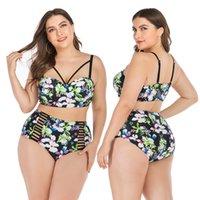 Купальник плюс размер бикини набор с высоким талией бикини 4XL большой размер купальники женщины ретро принт нажимают Bikinis Beach одежда 100 кг 210305