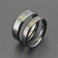 Cluster Rings Simple Stainless Steel Engagement Ring For Men Girls Black Wedding Band Jewelry Women High Polish Couple Anillo Mujer