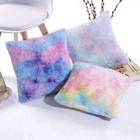Cushion Decorative Pillow Cushion Cover Gradient Faux Fur Short Plush Colorful Tie Dyed Pillowcase Throw For Sofa Car Chair El Home Decor