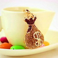 Keychains Creative Crystal Lucky Money Bag Shape Keychain Car Metal Pendant Female Accessories Small Gift