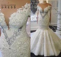 Robes de mariée de dentelle en dentelle de la dentelle arabe glamour de la dentelle de dentelle vintage manches longues pure dentelle appliques perles robes de mariée plus la taille BC5529