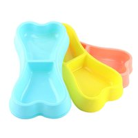 Cute Bone Shape Pet Dog Cat Puppy Food Travel Feeding Feeder Dogs Water Dish Double Bowl Supplies Plastic Colorful ZXFTL1237