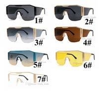 Barco rápido Nuevas gafas de sol cuadradas Mujeres grandes con marco con decoración de metal Fashion Ladies Gafas de sol UV400 7 colores 10pcs Nueva llegada