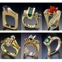 Moderno 2021 geometrico multi-strato oro strass anello anello charms gioielli rosso verde blu cz anelli nuziali uomini donne regalo z3t235