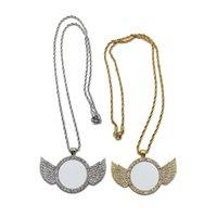 Collana di sublimazione Blanks Diamond Necklaces Angel Wings Transfer Transfer Pendant Metal Personalizza regalo Dye Regalo di San Valentino ZZC5545