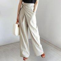 2021 봄 여름 새로운 높은 허리 느슨한 bowknot 순수한 컬러 넓은 다리 패션 workwear 숙녀 캐주얼 바지