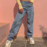 Women's Jeans 2021 High Waist Loose For Women Comfortable Fashion Casual Straight Leg Baggy Pants Mom Washed Boyfriend