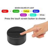 5Pcs 7 Colors Touch Lamp Base For 3D Night Light LED Lights Bases White Black Leds Lamps Holder Portalampada without USB cable D1.5