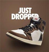 Air Jordan 1 Travis Scott X 1S High OG TS SP 1 Hommes Chaussures de plein air basse Sail Sky Moka University Sneakers extérieurs CD4487-100 US7-13