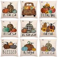 Halloween Pumpkin Pillow Case Linen Stampato Camion Flower Truck Fall Caduta Coperture di cuscino stagionale Decorativo 18 * 18 pollici HWA8781