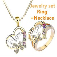 Heart Shaped Mother Necklace Mother's Day Gift 1 necklace + 1 ring MOM Plated Ring boutique Fashion diamond jewelry set G30103