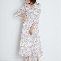 Elegante Mode Chic Print Frauen Kleider V-Ausschnitt Hohe Taille Slim Fit Ästhetische Vestidos 2021 Frühling Sommer Süßes Weiches Kleid