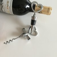 Wine Bottle opener Heart Shaped Great Combination Corkscrew and Stopper Heart-Shaped Sets Wedding Favors Gift DH2037