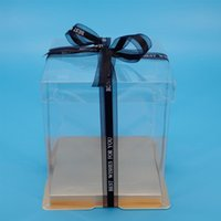 Gift Wrap Light Gold High Transparency Plastic Border Clear Cake Box For Home Bakery Package