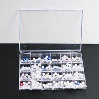 صناديق تخزين صناديق شفاف البلاستيك 24 فتحات مربع مجوهرات فتحة صغيرة عملة العتاد عرض حالة مسمار الفن العضوي مانيكير