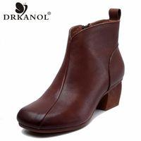 DRKANOL Handgemachte Stiefel Frauen 2020 Neue Qualität Echtes Leder High Heels Knöchelstiefel Weibliche Vintage Dicke Ferse R3Q7 #