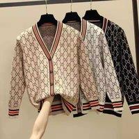 Мода V-образным вырезом с длинными рукавами хлопковые вязаные свитера женские кардиган Свободная повседневная куртка свитер Женская одежда S-4XL размер