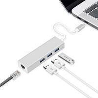 3Ports USB 3.0 허브 유형 C 이더넷 LAN RJ45 케이블 어댑터 네트워크 카드 기가비트 / 100MB 고속 데이터 전송 MacBook 용