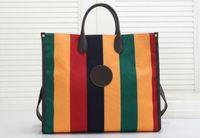 Stripe Couleur Assortiment Sacs Shopping Toile Tote Sac Fashion Classic Femmes Portefeuille Toile Sac à main multicolore Sac shopping tissé