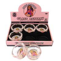 Aschenbecher Dame Horniset-Stil mit Tasche Box-Paket Rosa Cartoon Asche Tablett Rillenglas Glas Zubehör 65mm Runde Form