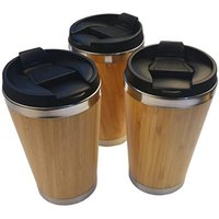 Water Bottles Wholesale Stainless Steel Bamboo Tumbler With Lid 450ml Vacuum Insulated Milk Coffee Mug Drinkware Cup Portable
