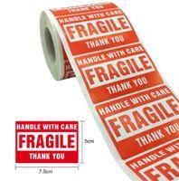 Nouveaux Stickers Fragile Festive 2 '' X 3 '' avec soin Avertissement Stickers Etiquettes d'expédition Merci à 500 étiquettes / rouleaux