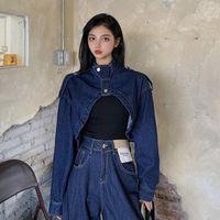Women's Jackets Autumn Korean Long-sleeved Stand Collar Single Breasted Irregular Short Denim Jacket Women Coats Fashion Streetwear 2021