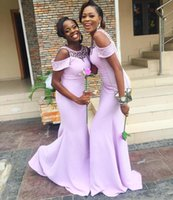 LILAC платья подружки невесты 2021 от плеча русалка из бисера с бисером шеи горничная горничная честь платья пляж свадебное вечеринка платье Vestidos