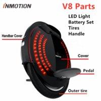 원래 Inmotion V8 외발 자전거 스쿠터 액세서리 바디 쉘 보호 커버 조정 가능한 핸들 페달 스티커 내부 타이어 LED 부품