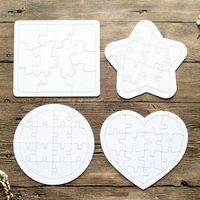 Süblimasyon Yapboz Kağıt Ürün Boş Beyaz Bulmaca 4 Şekiller DIY Isı Transferi Ahşap Oyuncaklar Çocuklar için Toddler Yaratıcı Bulmacalar A13