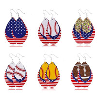 New Fashion Independence Day Women Dangle Earrings Jewelry Gifts Baseball Football Softball Sport PU Leather American Flag Earrings