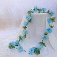 2.2m künstliche Kirschblüte Blumen Hochzeit Girlande Efeu Dekoration Gefälschte Seidenblumenrebe für Party Bogen Home Decor String Zze5160