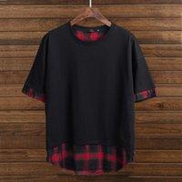Camisetas para hombre Tallas Tallas T Shirt T CHURS GORTOS HOMBRES 6XL 7XL 8XL PATCHWORK ALGODÓN O-COLOR DE COLOR DE MANGULA CORTE HIP HOP TEES