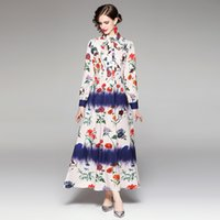 100% Polyester Women's Romantic Floral Printing Dress Lapel Neck Long sleeve Single Breasted Casual Dresses Autumn Fashion Shirt Vestidos