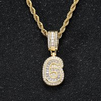Arabic Numerals Zircon hip hop 18K Gold necklace with 60cm chain jewelry set iced out diamond number Figures pendant necklaces for women men will and sandy dropship