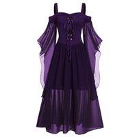 Gothic Mittelalterliches Kleid Cosplay Carnival Halloween Kleider Frau Plus Size Kalt Schulter Schmetterlingsarm Lace Up Halloween Kleid