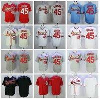 Retire Baseball 45 Bob Gibson Retro Jersey Men 1967 1979 1985 빈티지 cooperstown 풀 오버 스티치 팀 색상 빨간색 흰색 파란색 베이지 색 회색