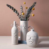 Estilo Nórdico Flower Secado Vasos Decoração Cerâmica Rosto Humano Rosto Creative Display Modern Cerâmica Ornamentos 210310