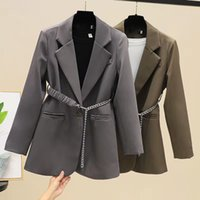 Women's Suits & Blazers Temperament design sense brown suit jacket spring and autumn new women's long-sleeved shirt small with bel