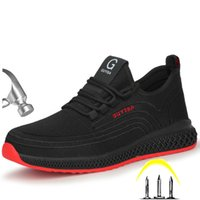 Boot Men Outdoor Steel Nose Anti Smashing Protective Work Shoes Lair Puncture Test Safety Slip 0802
