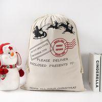 US стоковые рождественские подарочные пакеты большой органический тяжелый холст-мешок Santa Sack DrawString Хлопок Холст конфеты Сумка с оленями яблоко