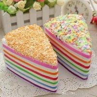 Jumbo arco-íris falso bolo decoração crumble squishy crumble kawai lento aumento de comida fotografia brinquedo cinta de telefone 14cm