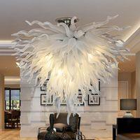 Çağdaş şişmiş cam avize tavan lambası led kolye ışıkları fikstürü beyaz renkli özel avizeler oturma odası için aydınlatma