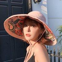 2021 moda bestseller estilo duplo estilo étnico grande borda chapéu senhoras de algodão sunscreen balde chapéu de sol ao ar livre