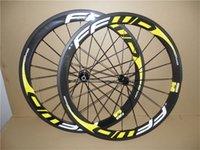 Yellow Logo F5R 700c 3K Glossy 50mm FFWD Carbon Road Bike Wheels Front Rear Wheelset with 23mm Width Black Powerway R13 Hubs 11 Speed