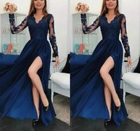 Nave Blue Lace Prom Dresses V neck Long Sleeves Appliques Side Split Evening Dress saudi arabia Formal Party Gowns