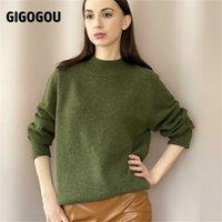 GIGOGOU Woolen Women Turtleneck Sweaters Autumn Winter Thick Warm Knitted Pullover Tops Oversized Jumper Cashmere Sweater 210914