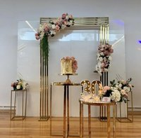 Party Decoration 3PCS Shiny Gold Wedding Backdrops Flower Arch Plinth Table Floral Door Frame Birthday Billboard Stand Background Layout